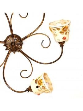 Plafoniera rustica ferro battuto con ceramica 3 luci Sofia