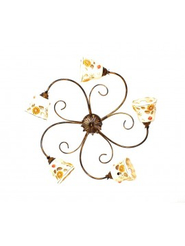 Rustic wrought iron ceiling light with ceramic 5 lights Sofia