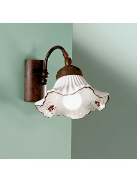 Rustic wall sconce in white-brown ceramic 1 light Anna-ap1