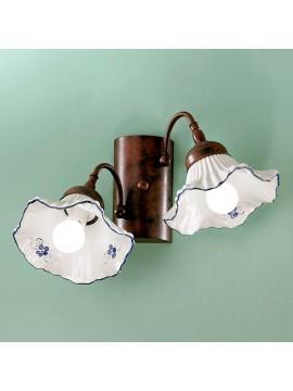 Applique rustico in ceramica bianca-blu 2 luci Anna-ap2
