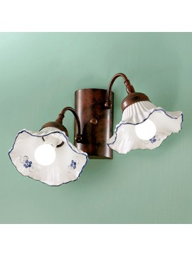 Rustic white-blue ceramic wall light 2 lights Anna-ap2