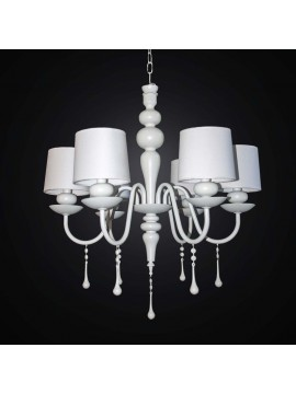 Contemporary chandelier in wood and white metal 6 lights BGA 2515/6