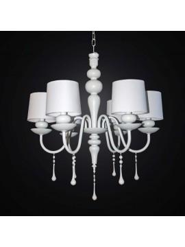 Lampadario contemporaneo in legno e metallo bianco 6 luci BGA 2515/6