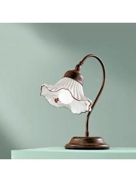 Lumetto rustico in ceramica bianca-marrone 1 luce Anna-l