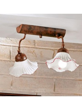 Plafoniera rustica in ceramica bianca-rosso 2 luci Anna-pl2