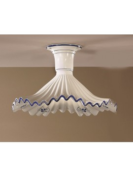 Rustic ceiling light in white-blue ceramic 1 light Anna-pl30