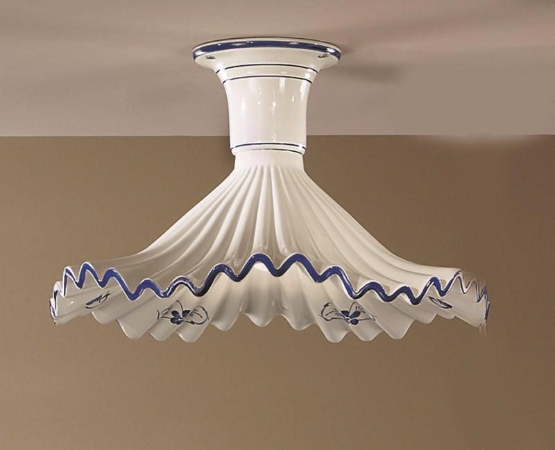 Plafoniere Rustiche A Parete : Plafoniera rustica in ceramica bianca blu 1 luce anna pl40