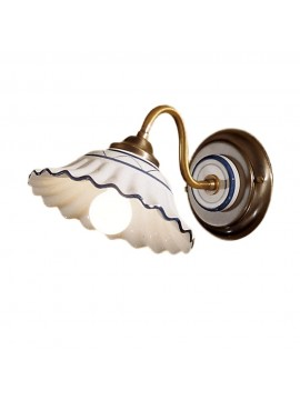 Rustic wall sconce in white-blue ceramic 1 light 2382-ap1