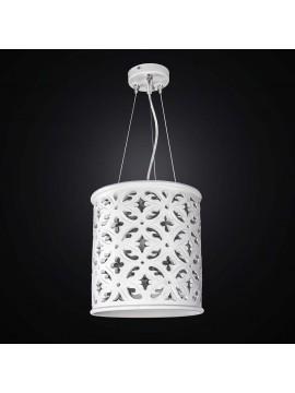 Lampadario in ceramica bianca traforata 1 luce BGA 2525/S