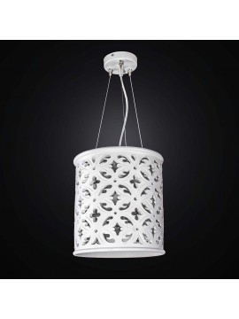 Perforated white ceramic chandelier 1 light BGA 2525 / S