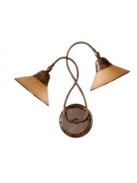 Applique rustico in ceramica mattone 2 luci Maria-ap2
