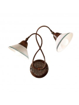Rustic wall sconce in white-green ceramic 2 lights Maria-ap2