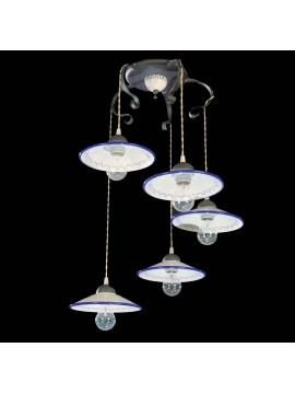 Chandelier in ceramic and wrought iron 5 lights BGA 1051