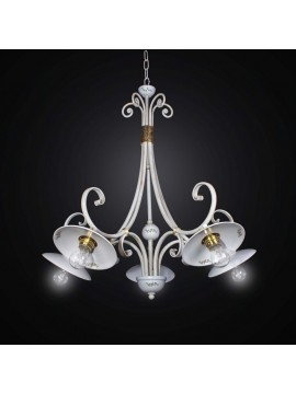 Chandelier in ceramic and wrought iron 5 lights BGA 2528/5