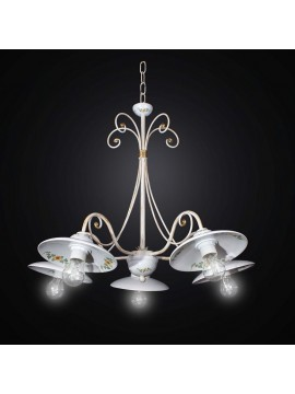 Chandelier in ceramic and wrought iron 5 lights BGA 2537 / 5-01