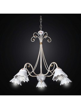 Chandelier in ceramic and wrought iron 5 lights BGA 2537 / 5-03