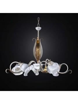 Lampadario in ferro battuto e ceramica 5 luci BGA  2525/5