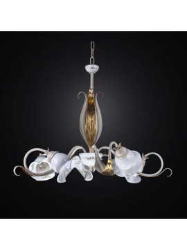 Wrought iron and ceramic chandelier 5 lights BGA 2525/5