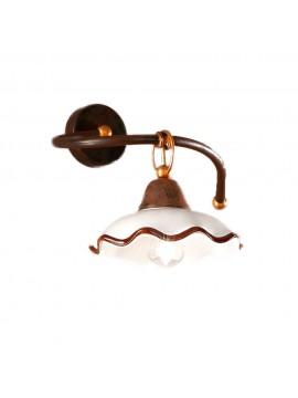 Applique rustico in ceramica bianco-marrone 1 luce chiara-ap1