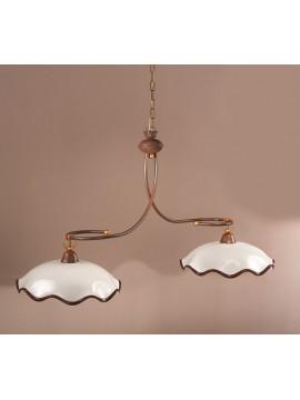 Bilanciere rustico in ceramica bianco-marrone 2 luce chiara-s2m