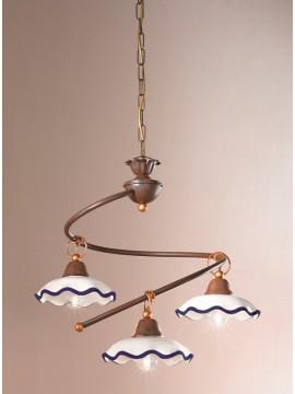 Rustic white-blue ceramic chandelier 3 lights Chiara-s3