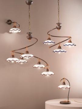 Rustic ceiling light in white-blue ceramic 1 light Chiara-plg