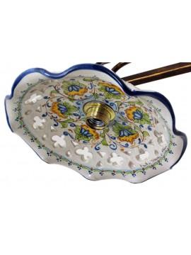 Bilanciere rustico in ceramica siciliana 2 luci Fiore