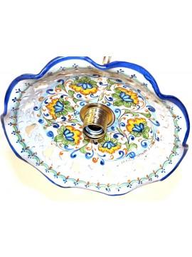 Rustic pendant in Sicilian ceramic 1 light Fiore