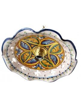 Rustic suspension in Sicilian ceramic 1 light Stella