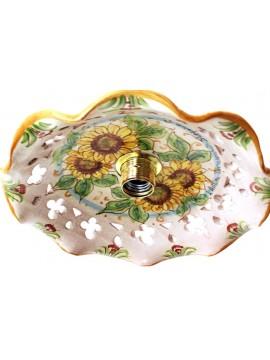Rustic suspension in Sicilian ceramic sunflower 1 light Anita