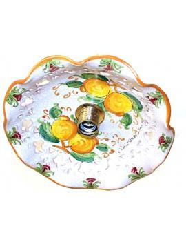Rustic suspension in Sicilian ceramic 1 light Limoni