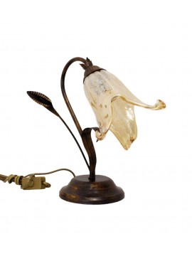 Classic table lamp in wrought iron 1 light left Murano Calla