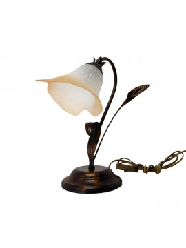 Classic table lamp in wrought iron 1 light Calla glass right