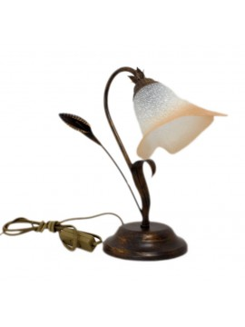 Classic table lamp in wrought iron 1 light Calla left glass