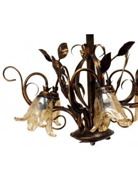 Lampadario classico in ferro battuto 5 luci Florenz murano