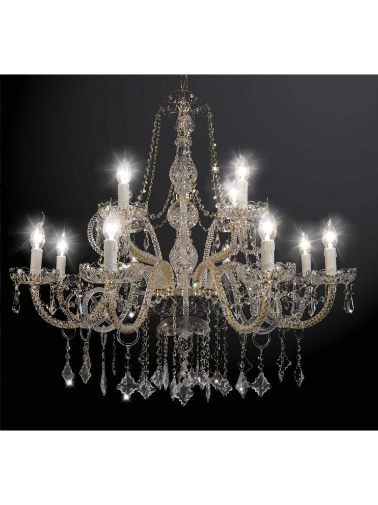 Lampadari In Cristallo Classici.Lampadario In Cristallo Classico 2 Piani 12 Luci Bga 1771