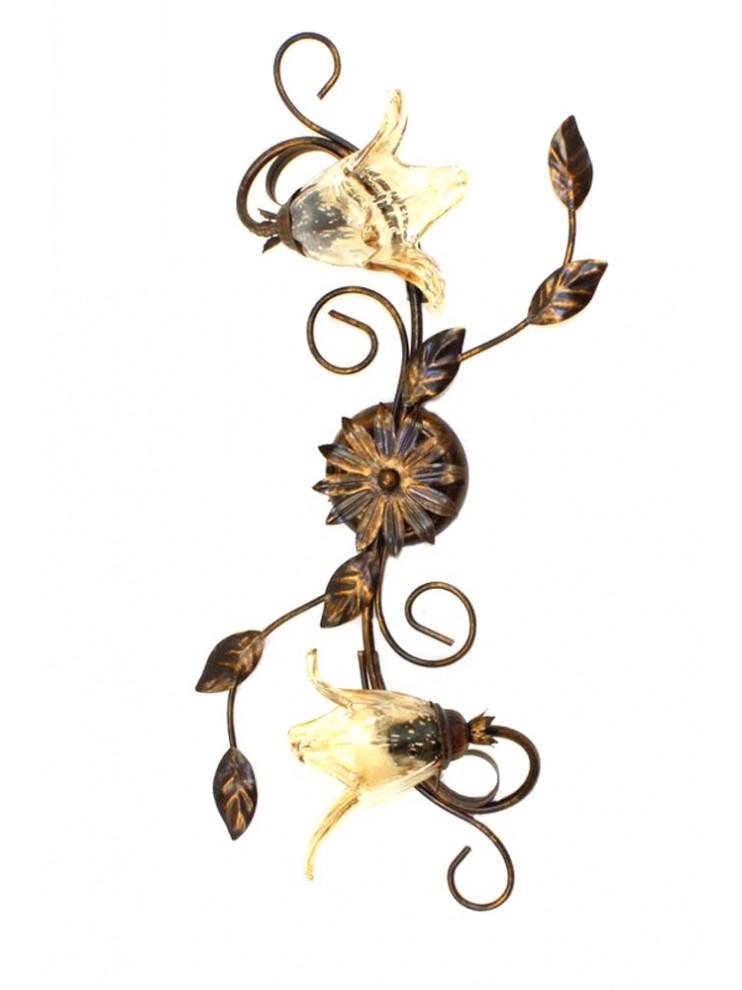 Plafoniera classica in ferro battuto 2 luci Florenz murano