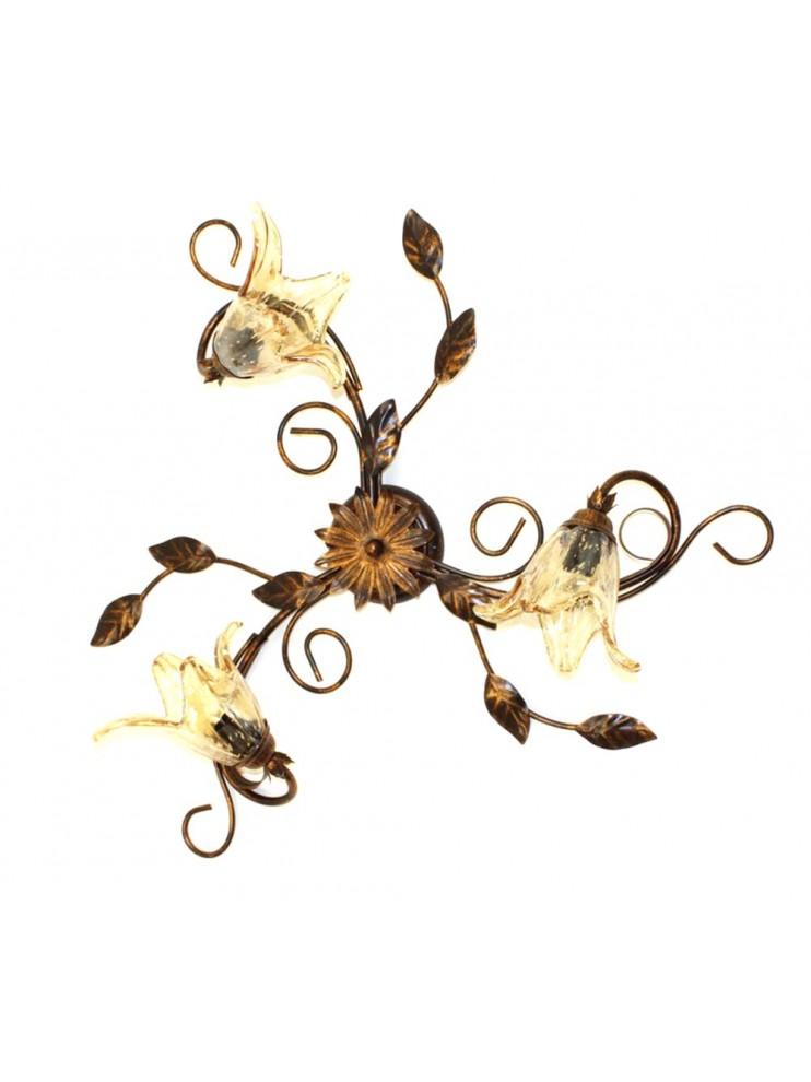 Plafoniera classica in ferro battuto 3 luci Florenz murano