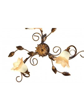 Classic ceiling lamp in wrought iron 3 lights Trilly