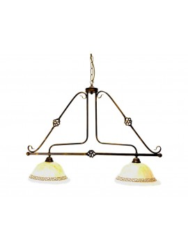 Classic barbell in wrought iron 2 lights Roberta