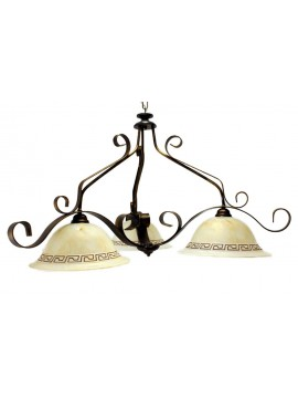 Classic barbell in wrought iron 3 lights Forged