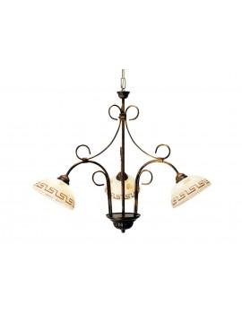 Lampadario classico in ferro battuto 3 luci Marmo