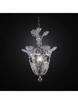 Chandelier in crystal and silver leaf 1 light BGA 2737-I35