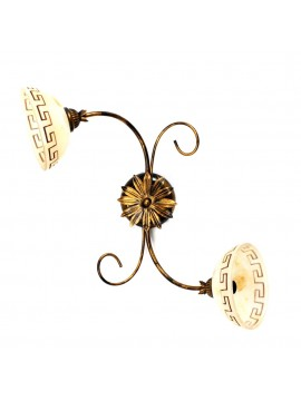 Classic ceiling light in wrought iron 2 lights Marble