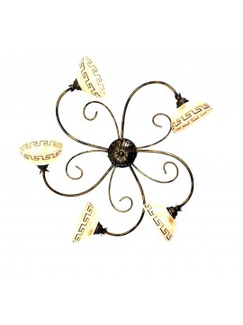 Classic ceiling light in wrought iron 5 lights Marble