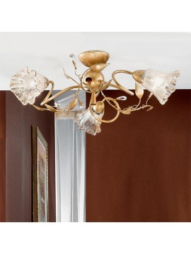 Classic ceiling lamp in wrought iron 3 lights emma-pl3
