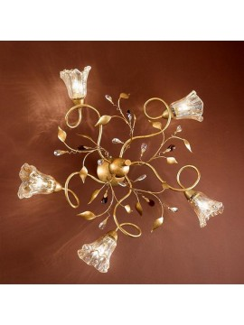 Classic ceiling lamp in wrought iron 5 lights emma-pl5