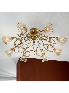 Classic ceiling lamp in wrought iron 8 lights emma-pl8