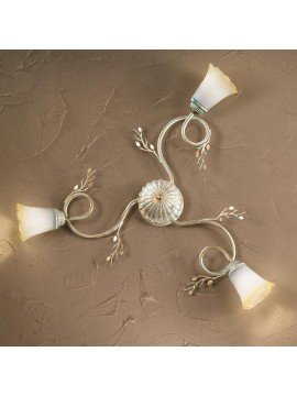 Classic ceiling lamp in wrought iron 3 lights elena cream-pl3