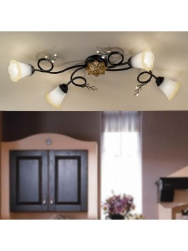 Classic ceiling lamp in wrought iron 4 lights elena dark-pl4